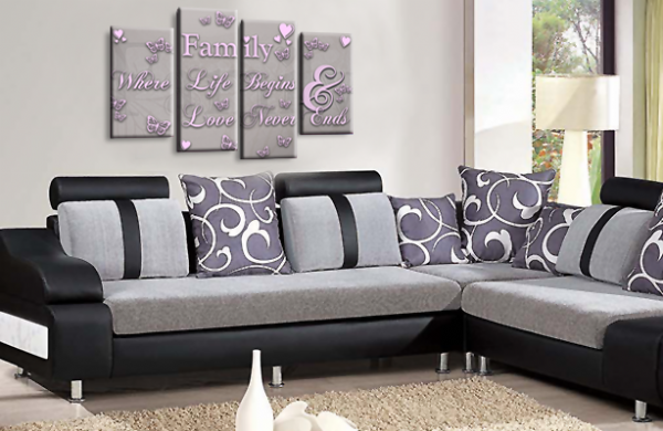 Family Quote Canvas Wall Art Picture Print Powder Grey Pink